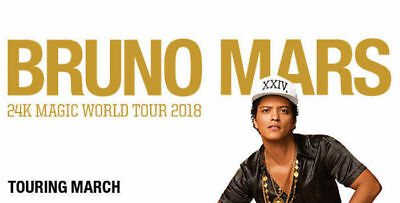 Bruno Mars Sydney 2x General Admission Standing Tickets | 20 March 2018 Tuesday