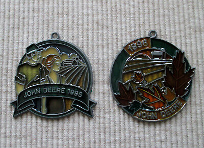 Vintage JOHN DEERE 1995 1996 Stained Glass Window Ornament Sun Catcher Lot of 2