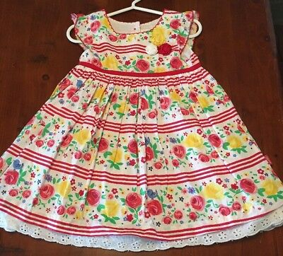 Red Floral And Striped Dress Size 1