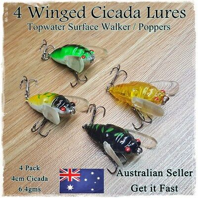 4x Winged Cicada Fishing Lures Topwater Popper Crawler Freshwater lures Bass Cod