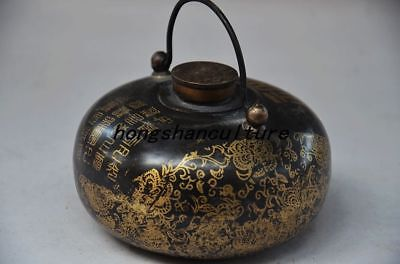 Collectible Old Chinese Bronze Handmade Carved Thermos Bottle Archaize Zrf