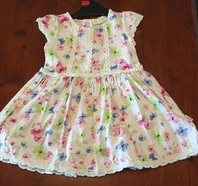 White Cotton Dress With Pink, Blue And Green Butterflies. Pumpkin Patch Size 1.