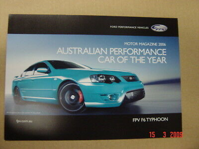 Ford Fpv  F6 Typhoon Brochure 3 2006 Pamphlet Excellent Condition
