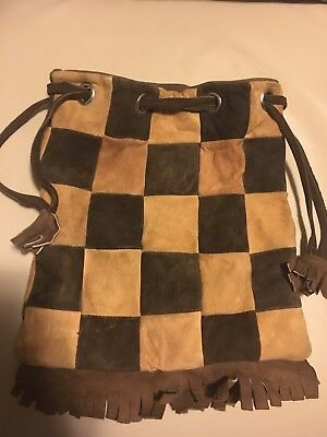1970s SUEDE LEATHER PURSE BAG & FRINGES & TASSELS - HIPPIE -