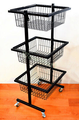 Utility Steel Trolley 3 Tier Basket Stand Kitchen / Catering /Restaurant / Shops
