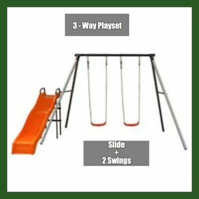 Kids 3 Way Outdoor Play Ground Activity Swing & Slide Gym Set