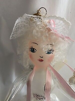 """Radko Rare Made in Italy Pink """"Gloriana"""" Angel Lady Frosted Glass"""