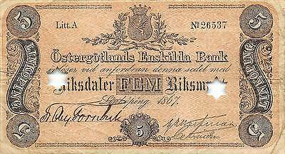 Sweden  5 Riksdaler  1867  S 724  Litt. A  Cancelled note Circulated Banknote