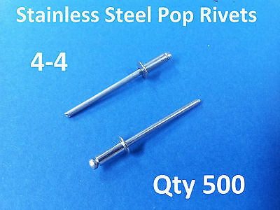 500 POP RIVETS STAINLESS STEEL BLIND DOME 4-4 3.2mm x 9.5mm 1/8""
