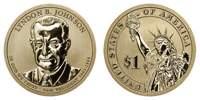 2015  Lyndon B. Johnson Reverse Proof Dollar ~ From Coin and Chronicles Set