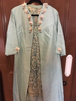 ELVIE HILL of MELBOURNE - Vintage -Matching Set Dress and Coat Jacket Mint Green