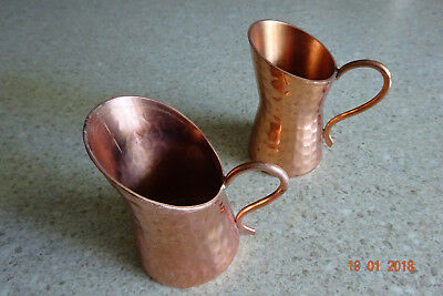Small ARTS & CRAFTS Hand Beaten HAMMERED COPPER JUGS x 2