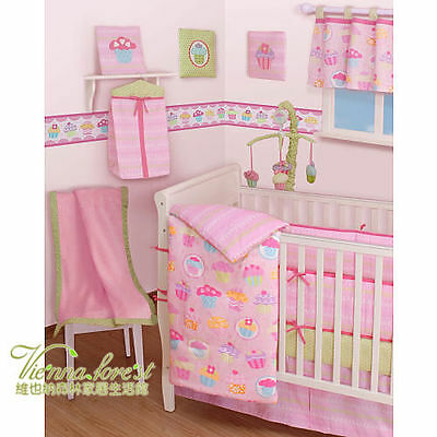 10 Piece Pink Girls CUPCAKE Baby Cot Comforter+ Bumper + Wall Hanger and More