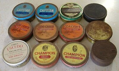 Tobacco Tins Vintage Lot Of 12 Round Cigarette Smokes Old School Cool