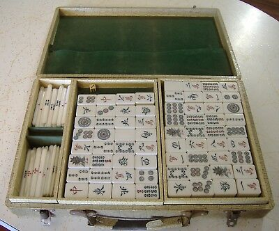 Mahjong Vintage Boxed Set Old School Chinese Card Tile Game Passtime Or Gambling