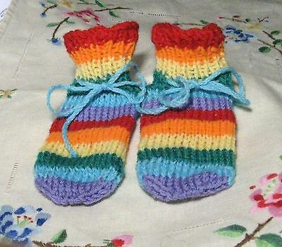 rainbow baby gift fairy booties 3-6mth shower party garden  wool yoga surf hippy