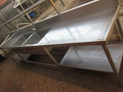 Commercial Stainless Steel Double Sinks Bench With Rack , Shelf And Tap