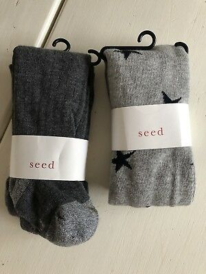 Two Pairs Of SEED Girls Tights (size 3-6yrs)