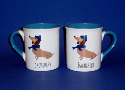 Set of 2 Winter Dachshund Catching Snowflake On It's Tongue Coffee Cups  - Mugs