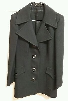 Three quater length vintage coat.Black.Made in England.100% wool.