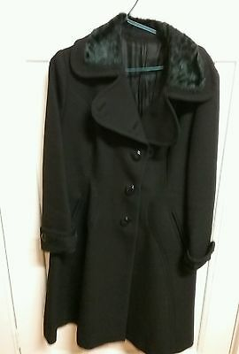 1960s fitted,pure wool coat.Black.Size 12