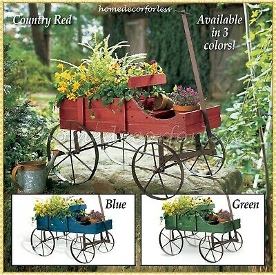 Wooden Wagon Wheel Planter Bed Garden Cart Country Rustic Indoor Outdoor  Decor