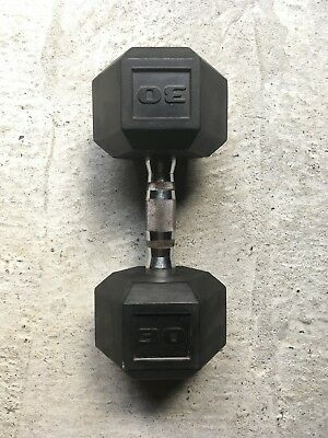 30lb Rubber Coated Hex Dumbbell (pair)
