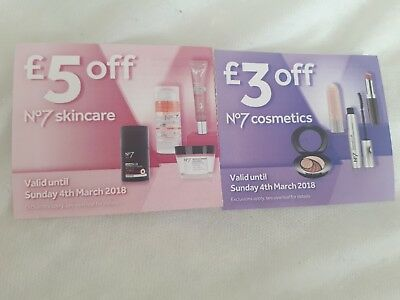 Boots No7 Skincare and Cosmetics Voucher. £5 Off Skincare. £3 Off Cosmetics.