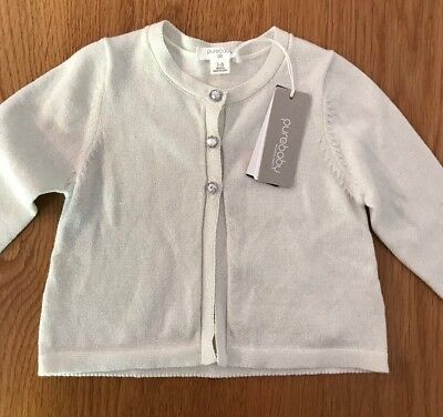 BNWT PURE BABY Silver Knitted Metallic Cardigan. Size 00 (3-6 Months) RRP $59.95