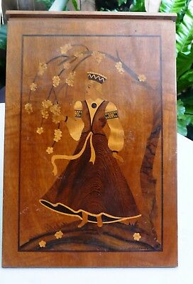 Marquetry wood inlay picture on V Frame - Signed