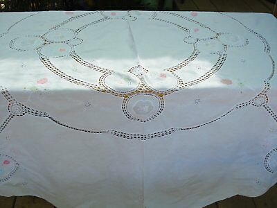 Vintage  Round Tablecloth  Embroidered, With Appliques And  With Crochet/lace  I