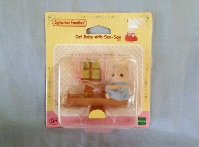 Sylvanian Families Calico Critters Vintage Epoch Cat Baby & See-Saw New in box
