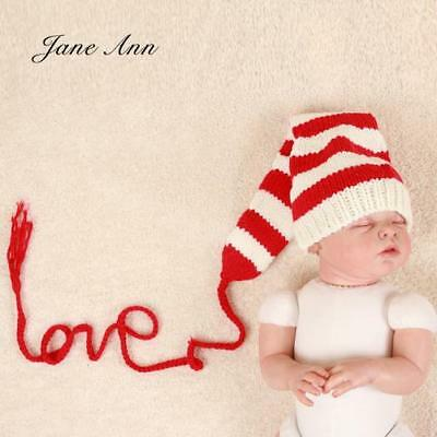 Newborn Photography Photo Props Baby Love Hat White Red Striped Long Tail Hat