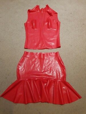 Red Latex Skirt and Top Set