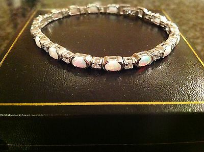 Sterling Silver Firey Gilson Opal diamante sparkle tennis bracelet New boxed