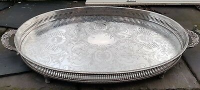 Large Silver Plated On Copper Gallery Serving Tray
