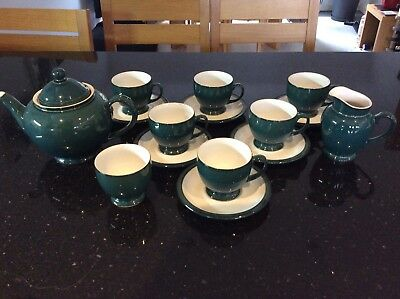 Denby Greenwich 6 Tea Cups & 6 Saucers, Large Teapot, 1 Sugar Bowl, 1 Milk Jug.