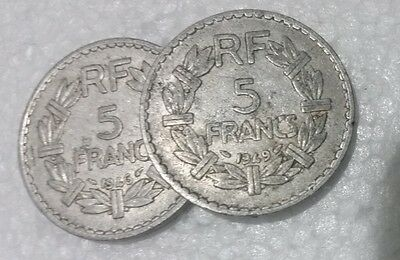 France 5 Francs pair aluminium 1946 & 1949 Open & Closed '9' types French coins
