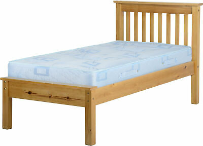 Antique Pine Wooden Low End Bed Frame - 2 Sizes Available *BRAND NEW*