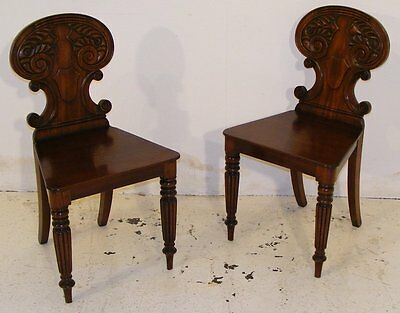 Good Quality Antique Pair Of Regency Mahogany Hall Chairs