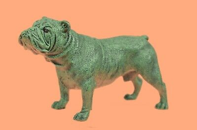 Hand Made Miniature Signed Austrian M.Lopez Bronze Bulldog Dog Painted Sculpture