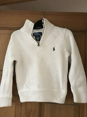 Ralph Lauren Boys Zip Jumper In Cream 2/2T