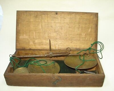 Antique Early Nineteenth Century Jewellers/Apothecary Scale in Oak Case