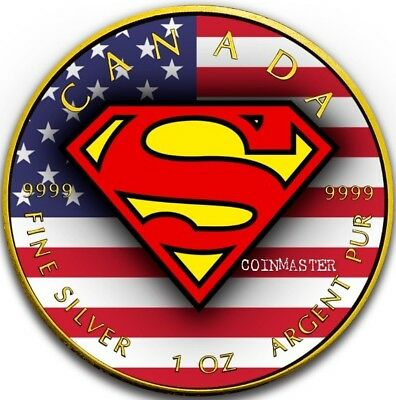 2016 1 Oz Silver US FLAG Superman Coin, 24K GOLD.
