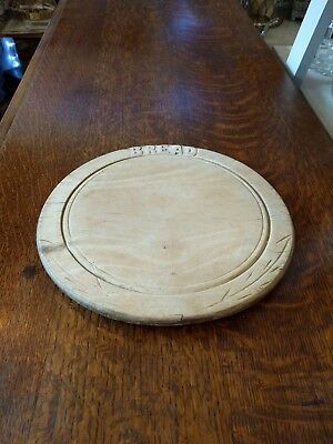Vintage Hand Carved Circular Wooden Bread Chopping Board Farmhouse