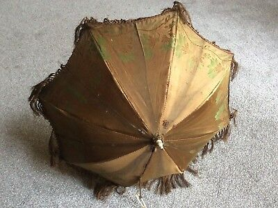 Victorian Parasol In Green And Brown Silk Pattern With Wonderful Carved Handle