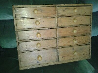 antique pine set of 10 drawers collectors bank chest