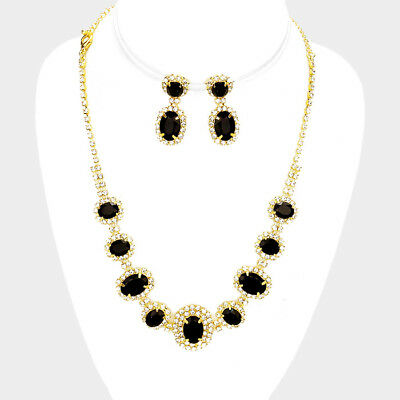 Black rhinestone crystal necklace set brides proms party diamante sparkly 249-G