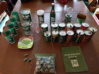 Vintage 7UP Collectable Huge 30 Piece Lot Ashtray Glasses