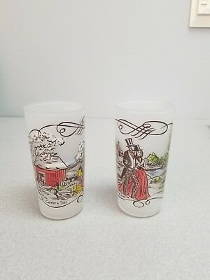 2 Frosted Currier & Ives Drinking Glasses_..